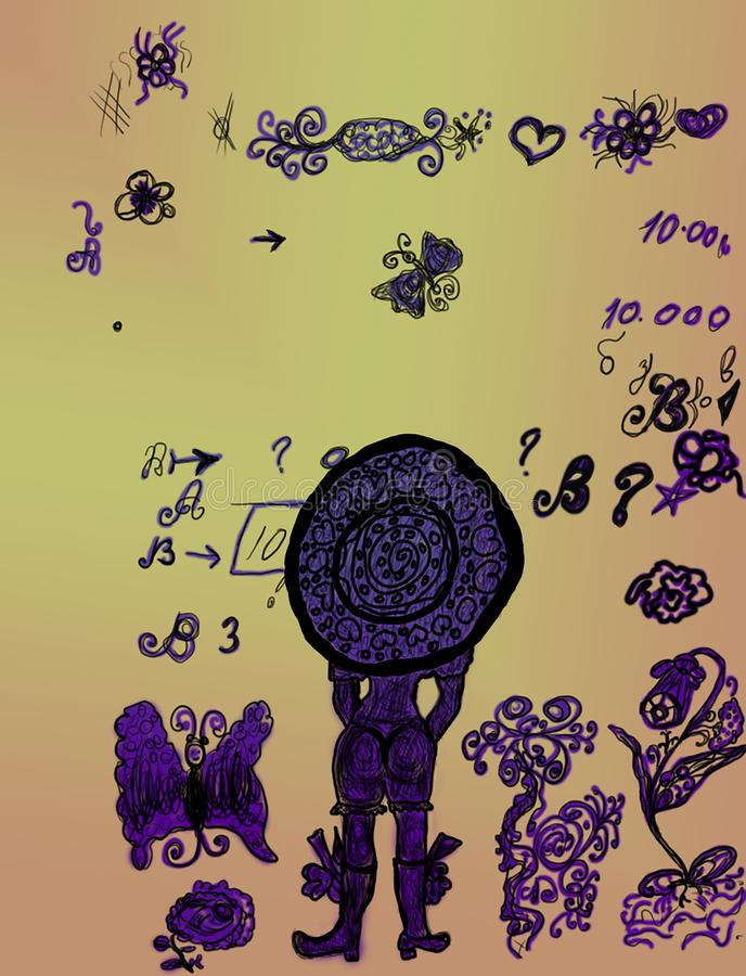 Girl drawing an aged grunge with scattered symbols and letters stock illustration