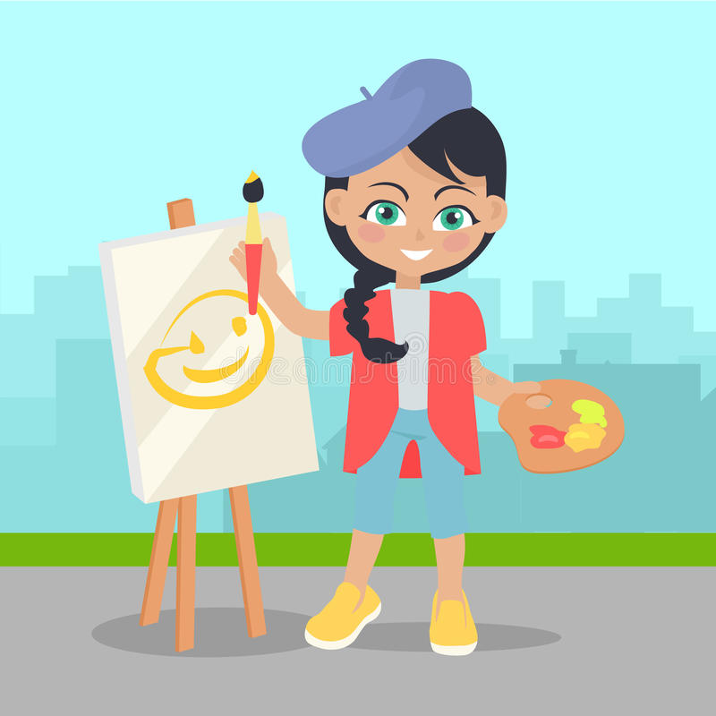 Girl Drawing on Easel on Landscape of Urban City royalty free illustration