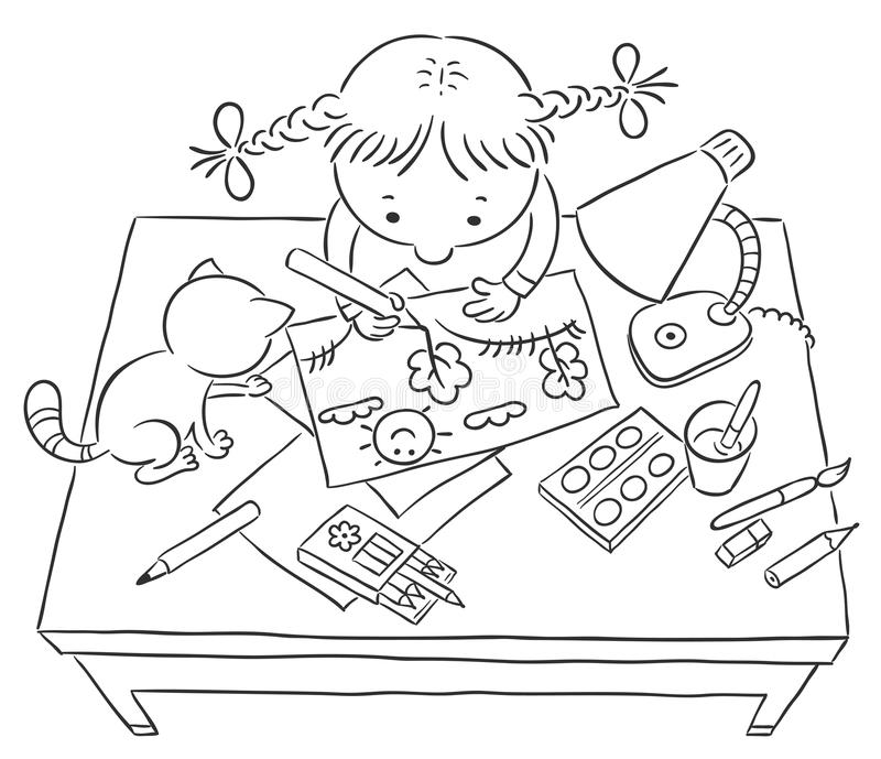 Girl drawing a picture stock illustration