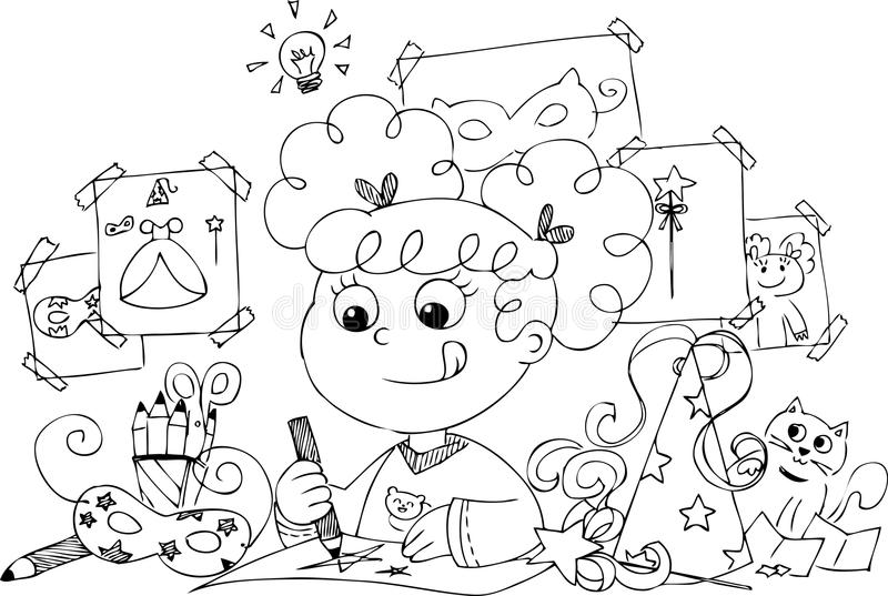 Download Girl Drawing Princess Costume Stock Vector - Image: 38439110