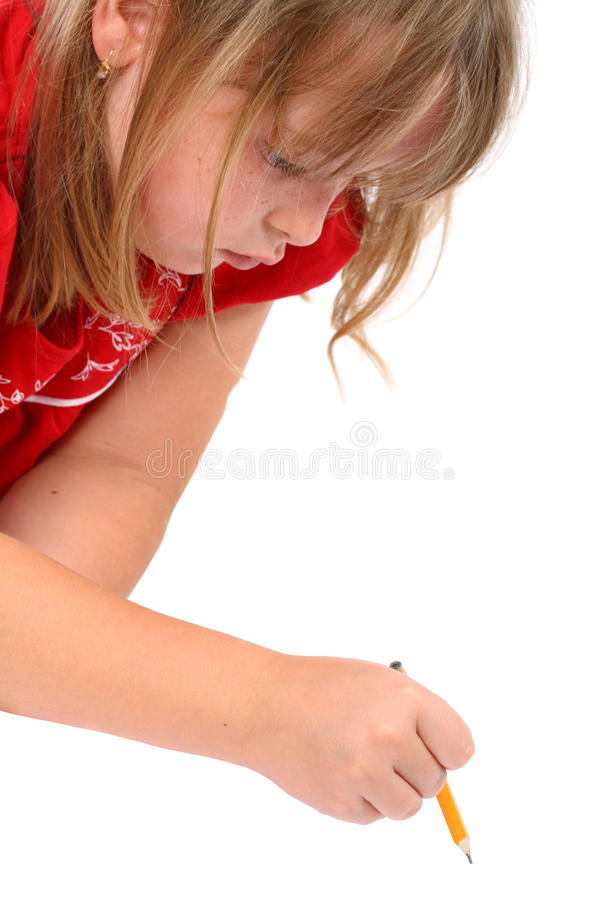 Download Girl Drawing Something With A Pencil Isolated Stock Image - Image: 16348413