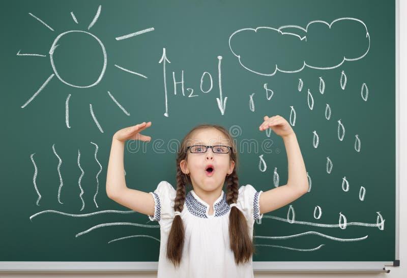 Girl drawing water circulation on school board. Girl drawing water circulation on a school board stock image
