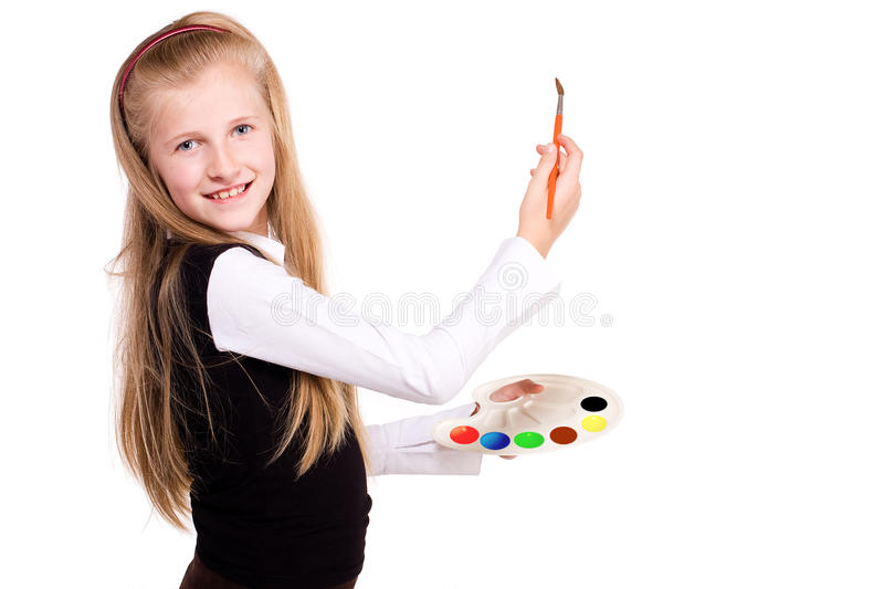 Download Girl draws stock photo. Image of cute, learn, knowledge - 11500046