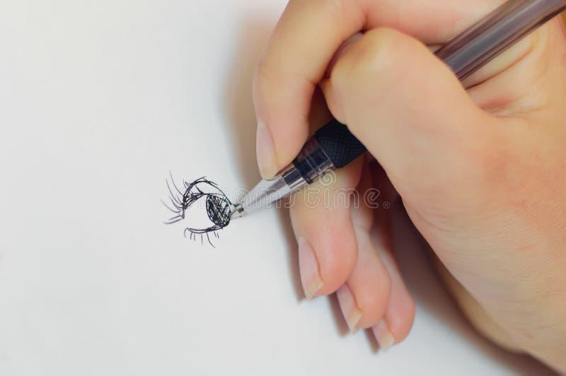 Girl draws, closeup vector illustration