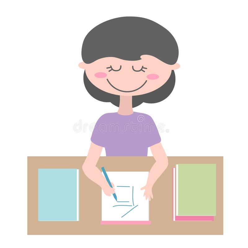 The girl draws in a notebook. Vector illustration. royalty free illustration