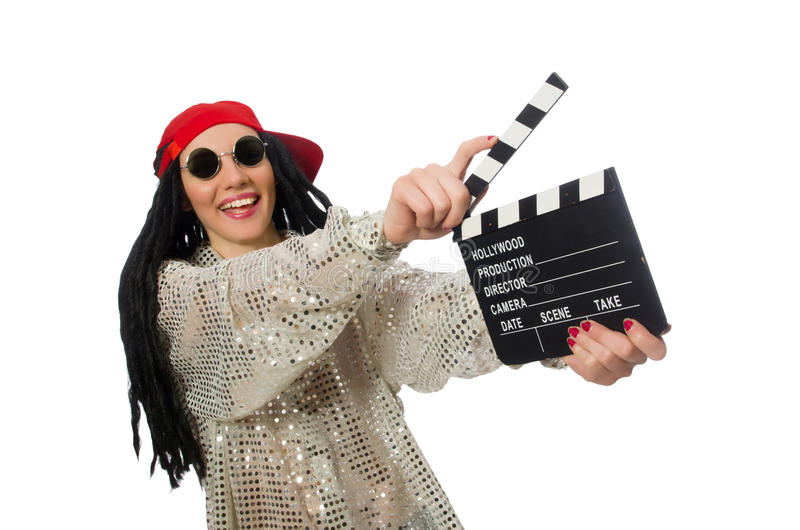 Girl with dreadlocks holding clapperboard isolated. The girl with dreadlocks holding clapperboard isolated on white stock photography