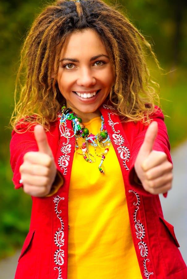Girl with dreadlocks speaks - ok! royalty free stock photos