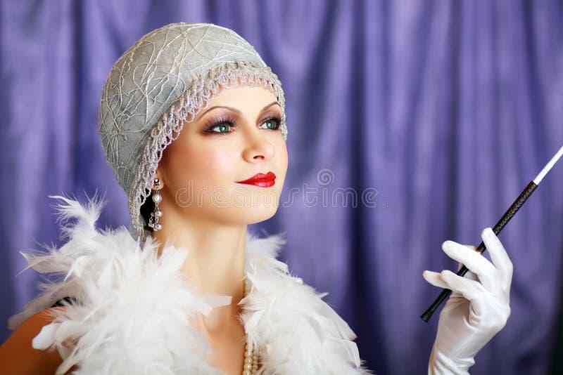 Retro flapper style woman stock image