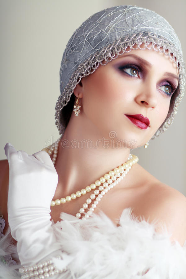 Young flapper woman royalty free stock photos