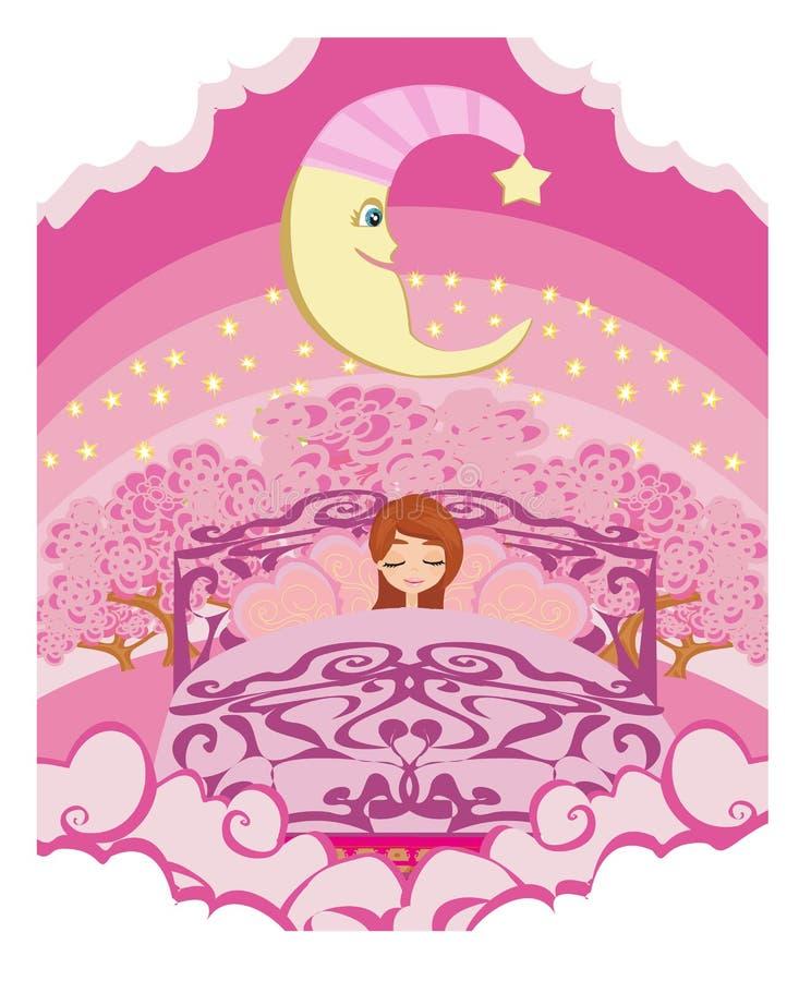 Girl dreaming in bed. Vector Illustration vector illustration