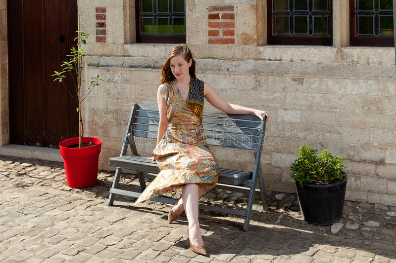 Download Girl Dreaming In The Sun On A Bench Stock Image - Image: 38927355