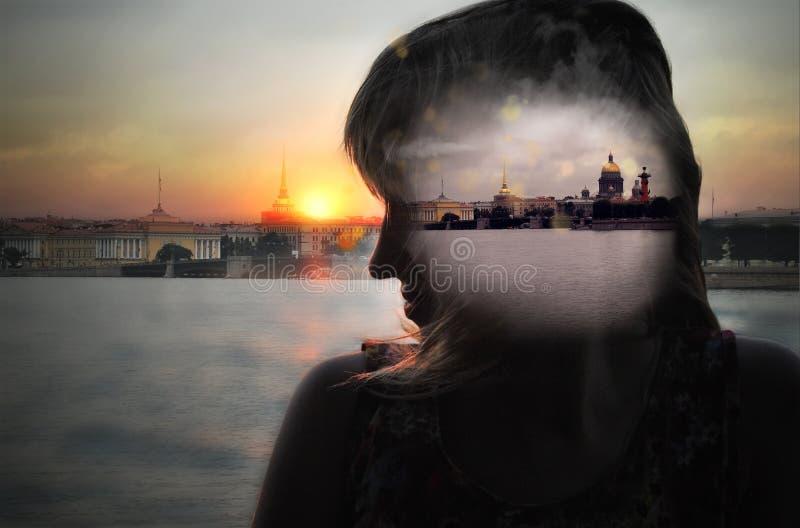 Girl dreams of St.-Petersburg stock images