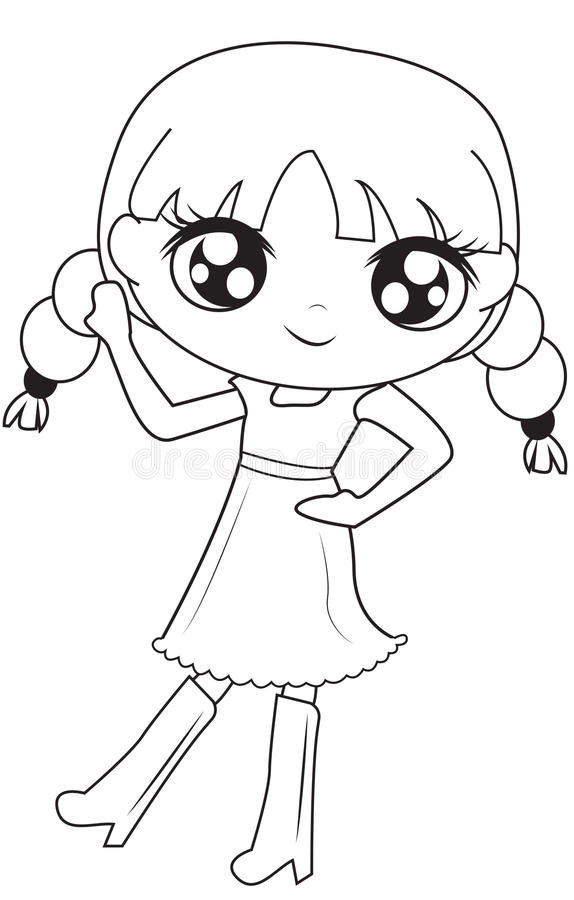Girl in dress with boots coloring page. Useful as coloring book for kids vector illustration
