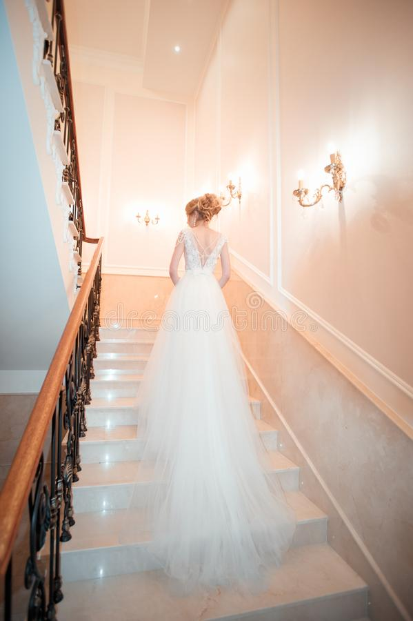 A girl in a dress climbs the stairs. Beautiful lady in a luxurious ball gown climbing the stairs. Baluster railing on both sides. royalty free stock photography
