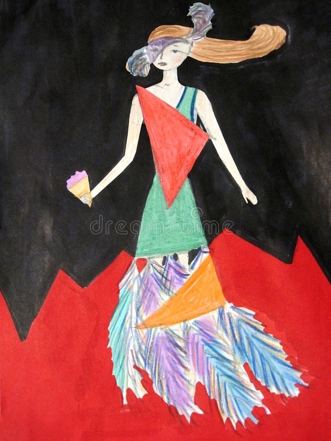 The girl in the dress with the feathers royalty free stock images