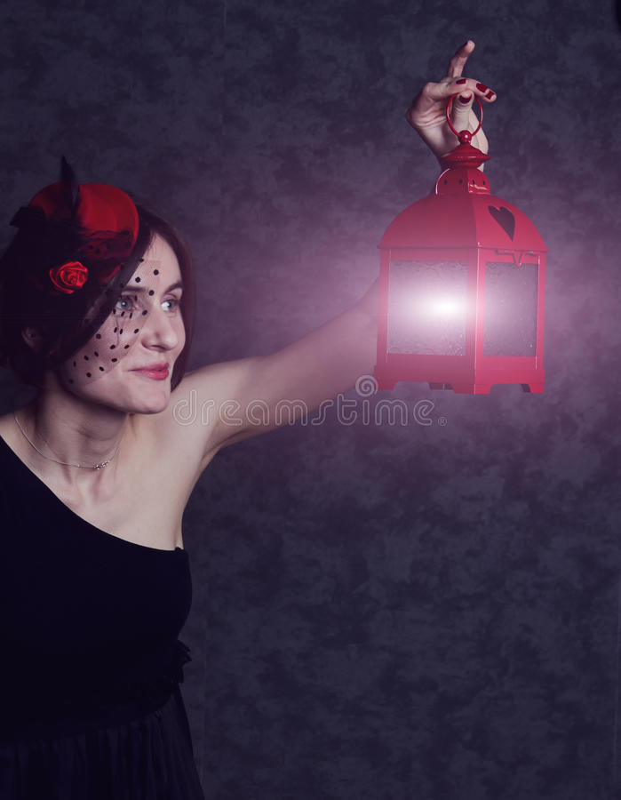 Download Girl In A Dress And Hat With Lantern Stock Photo - Image: 24374096