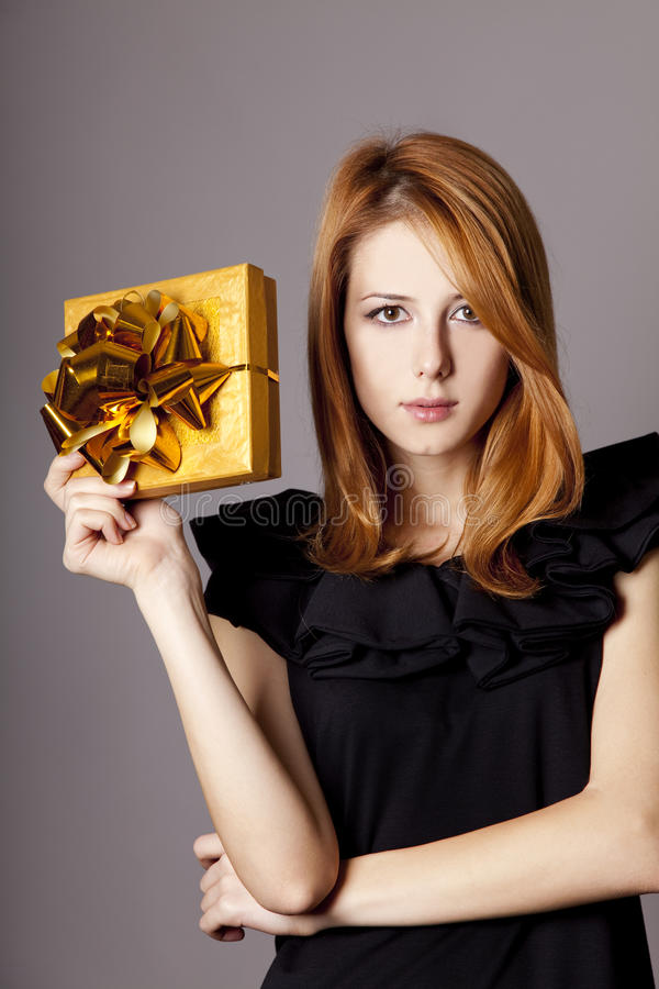 Download Girl In Dress With Present Box Stock Photo - Image: 22058924
