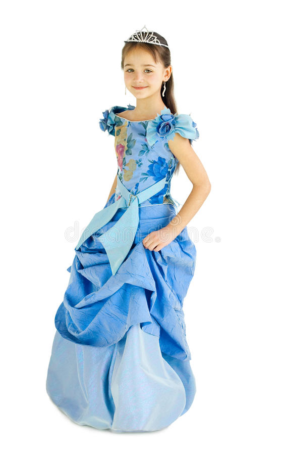 The girl in a dress of the princess. On a white background stock image