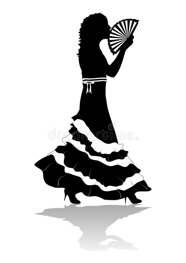 Girl In Dress Silhouette Stock Image
