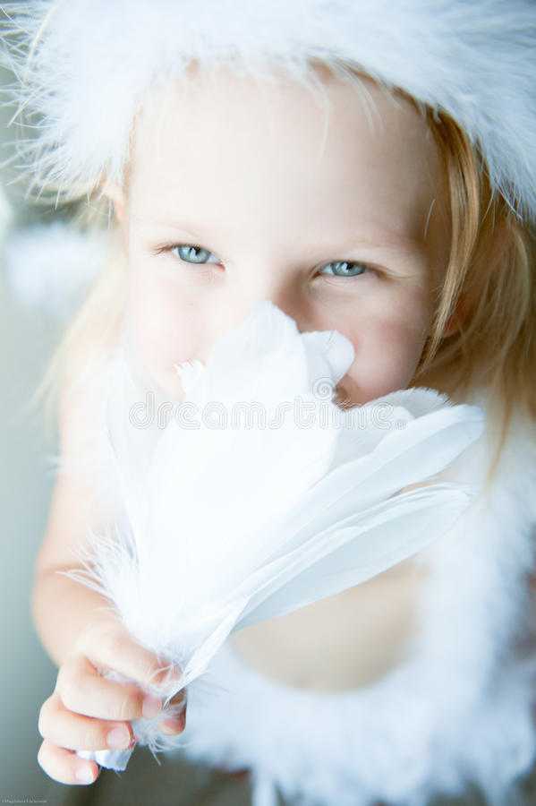 Girl Dressed As Angel Royalty Free Stock Photos