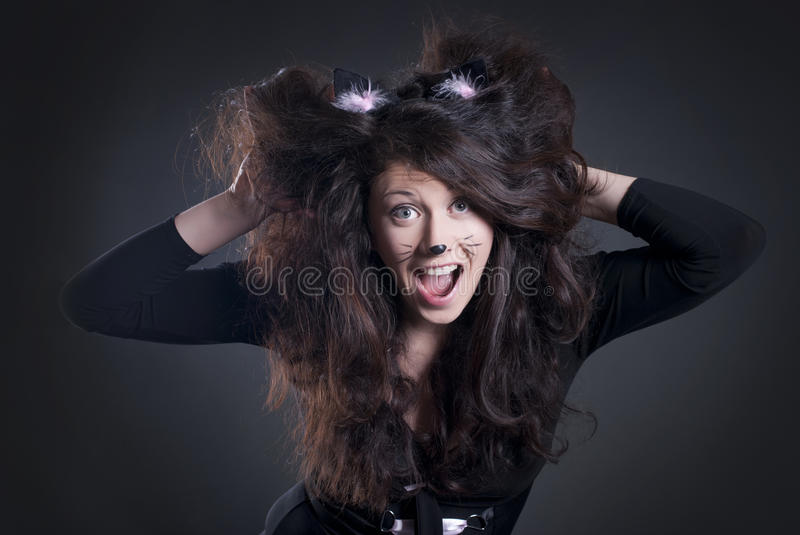 Download Girl dressed as a cat stock photo. Image of closeup, beauty - 19515430