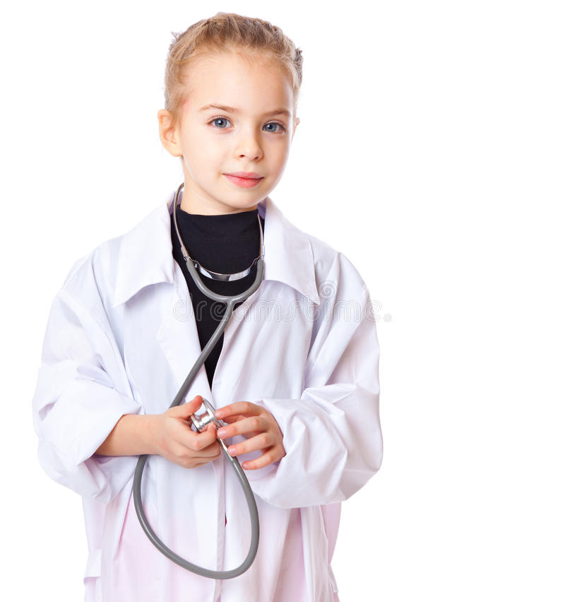 A girl is dressed as doctor royalty free stock images