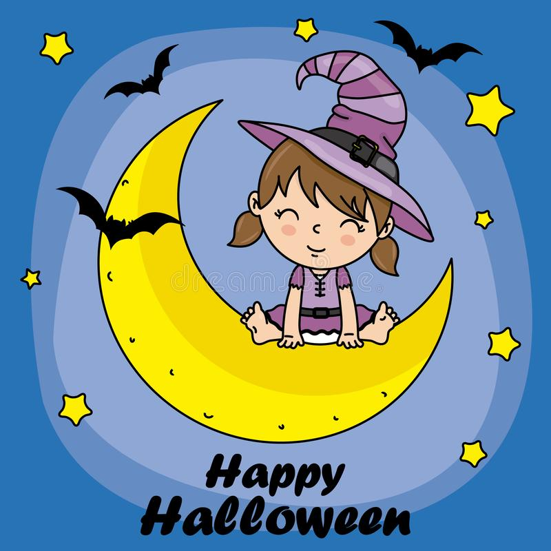 Girl dressed as a witch sitting on the moon royalty free illustration
