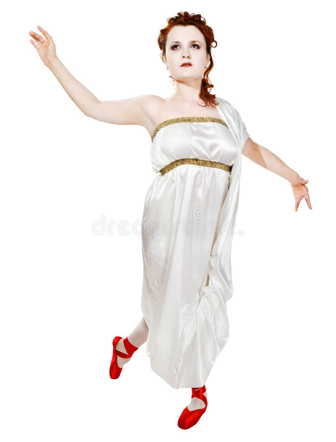 Download Girl Dressed In Greek Costume Dancing On White Stock Photo - Image: 13061916