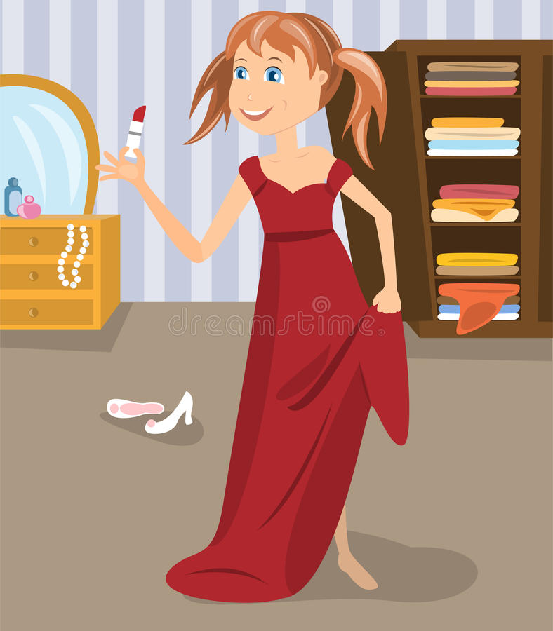 Girl dressed in mother's gown royalty free illustration