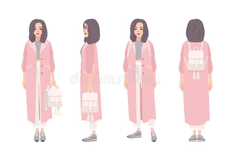 Girl dressed in outerwear. Cute woman wearing coat and holding backpack. Female cartoon character isolated on white vector illustration
