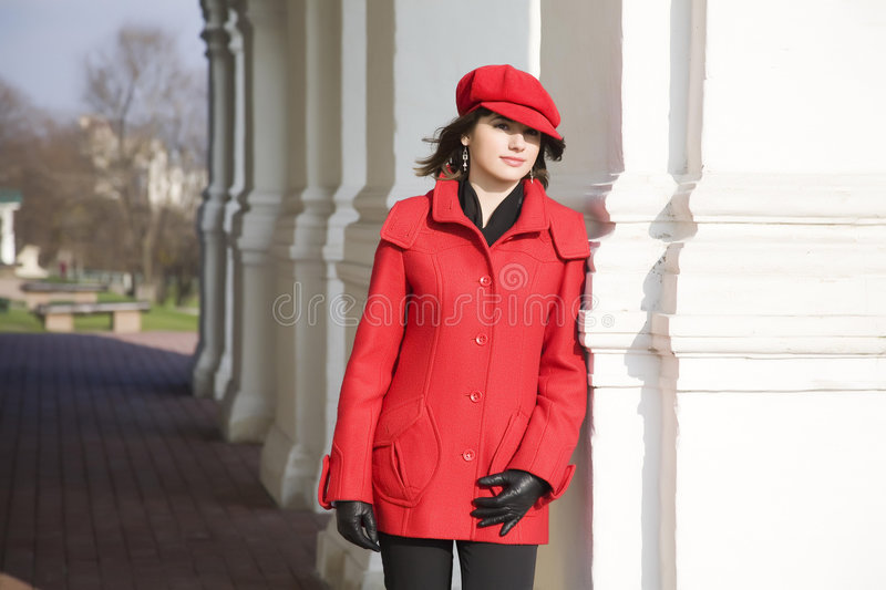 Download Girl Dressed In Red Coat stock image. Image of happiness - 6880369