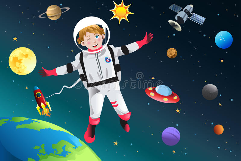Girl Dressed Up as Astronaut. A vector illustration of little girl dressed up as astronaut vector illustration