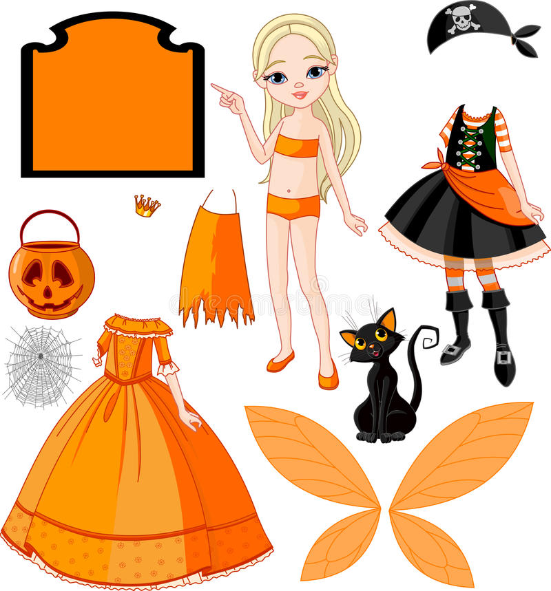 Girl with dresses for Halloween Party stock illustration
