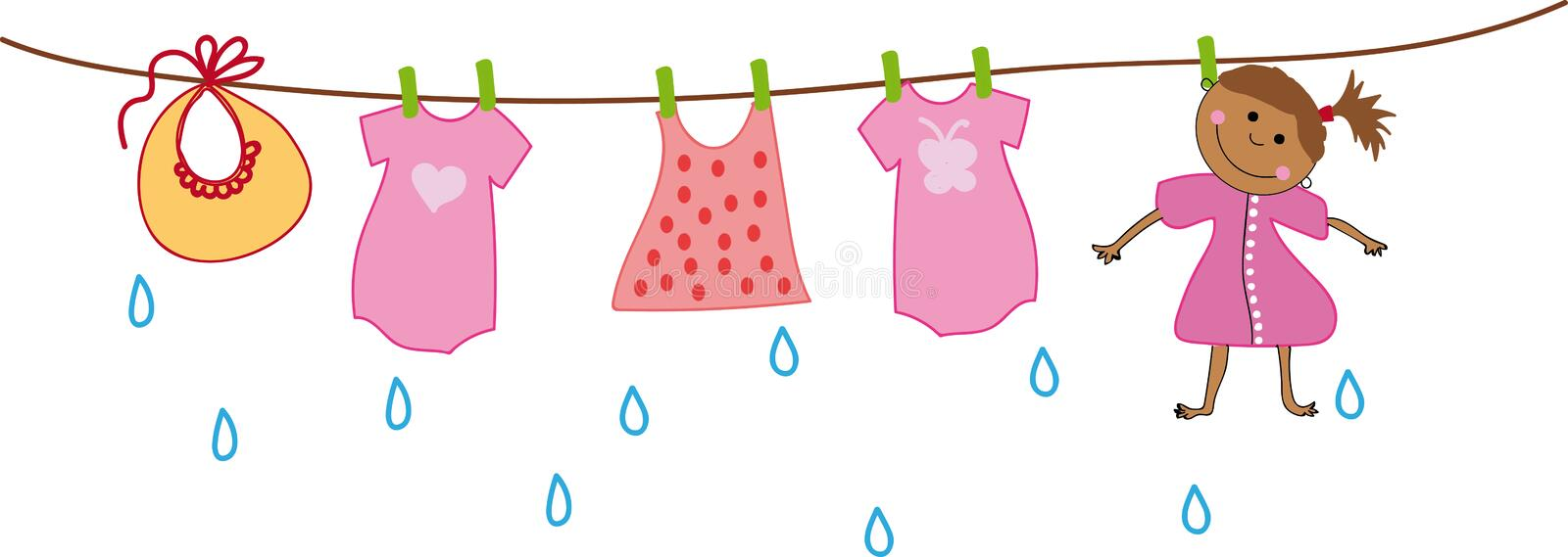 Girl dries on the clothesline with baby clothes. Illustrations on a transparent background stock illustration