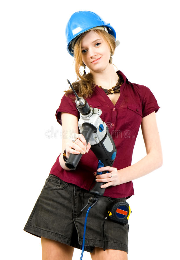 Download Girl with drill stock photo. Image of protective, isolated - 13312602