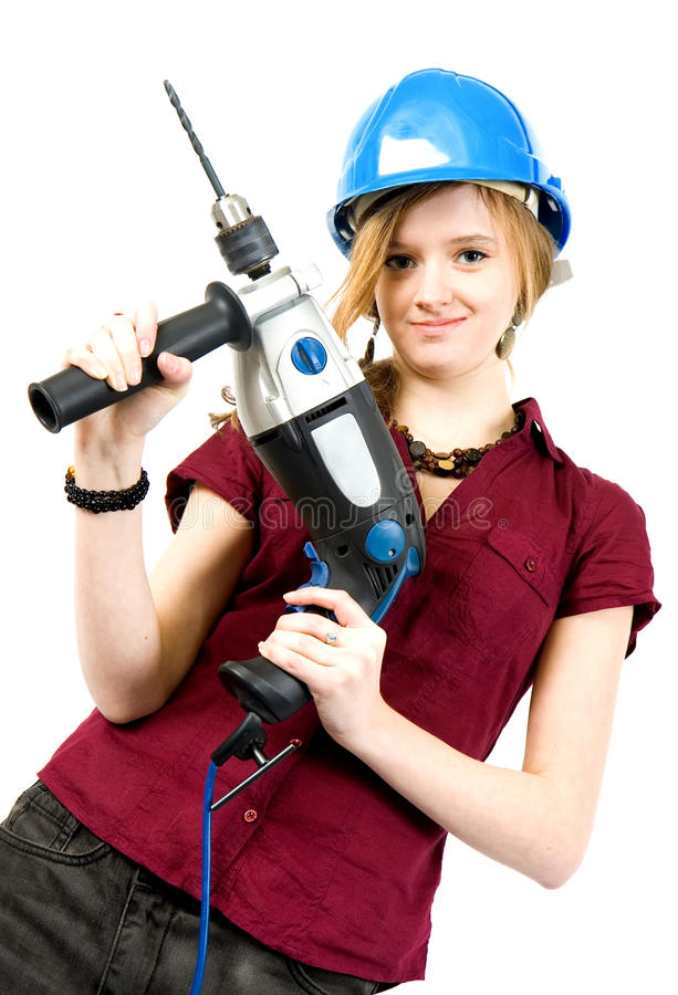 Download Girl with drill stock image. Image of industrial, business - 13312603