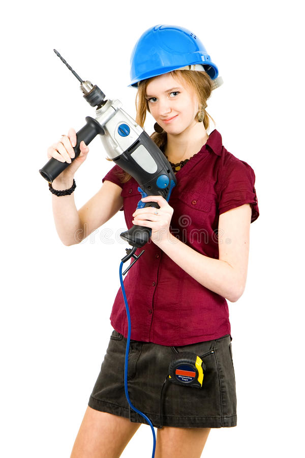 Download Girl with drill stock photo. Image of adult, construction - 13312616