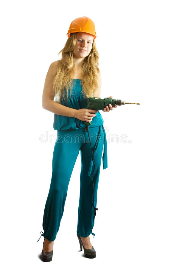 Girl with drill. Beauty girl with drill over white background stock photo