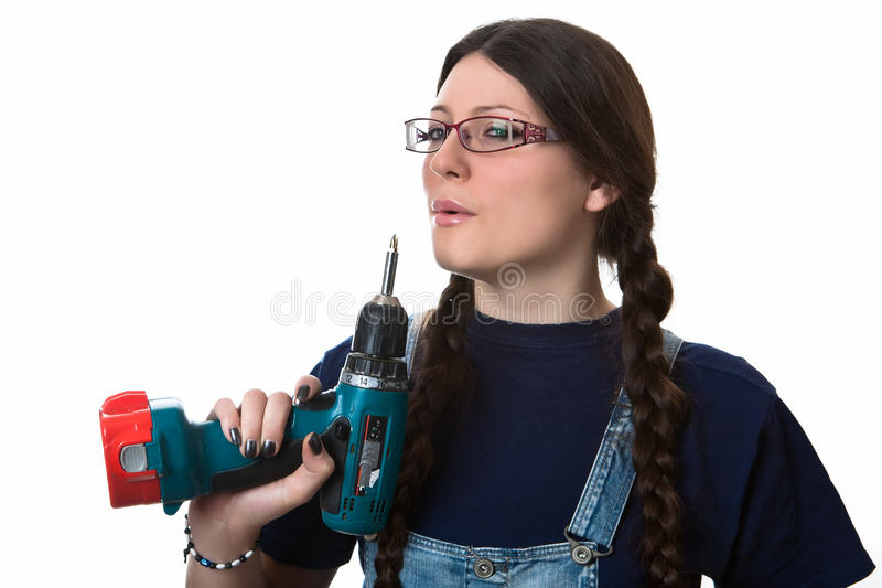 Download Girl with a drill stock photo. Image of white, woman - 17770114