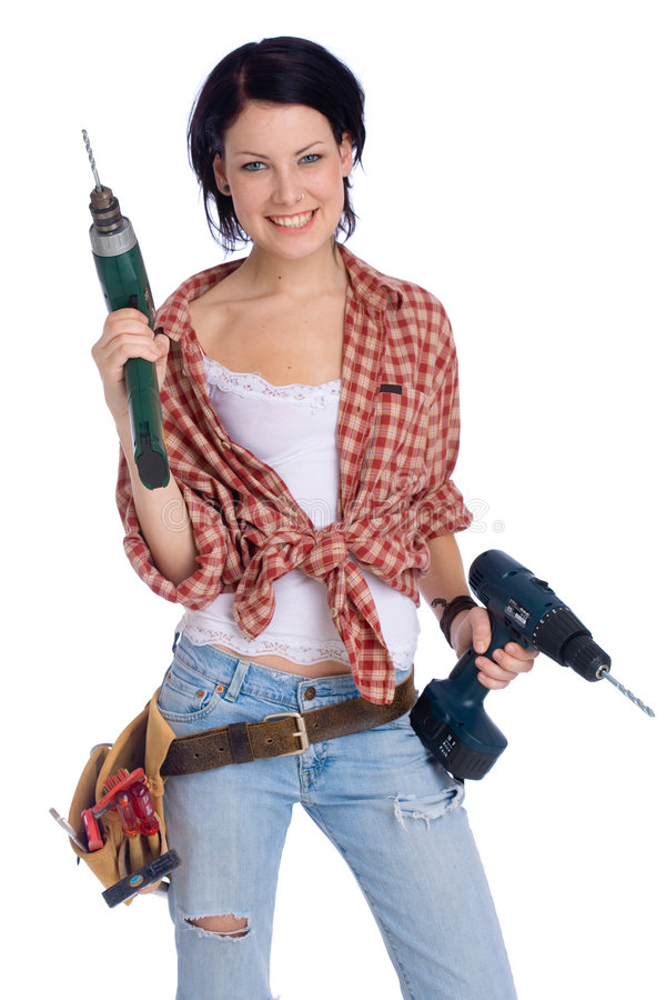 Girl with drill. Young female do-it-yourselfer with a drilling machine stock photos