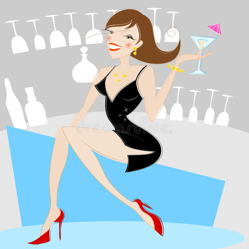 Girl Drinking Alcohol Stock Vector. Image Of Background