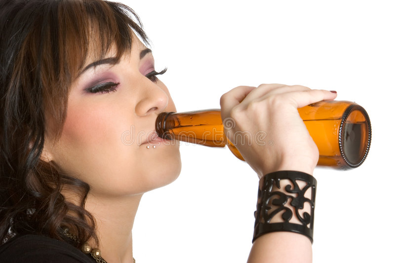 Girl Drinking Beer stock photo. Image of bottle, people ...