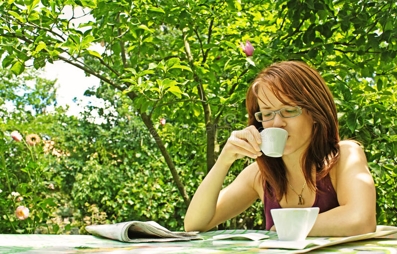 Download Girl drinking coffee stock photo. Image of drinking, enjoying - 10212852