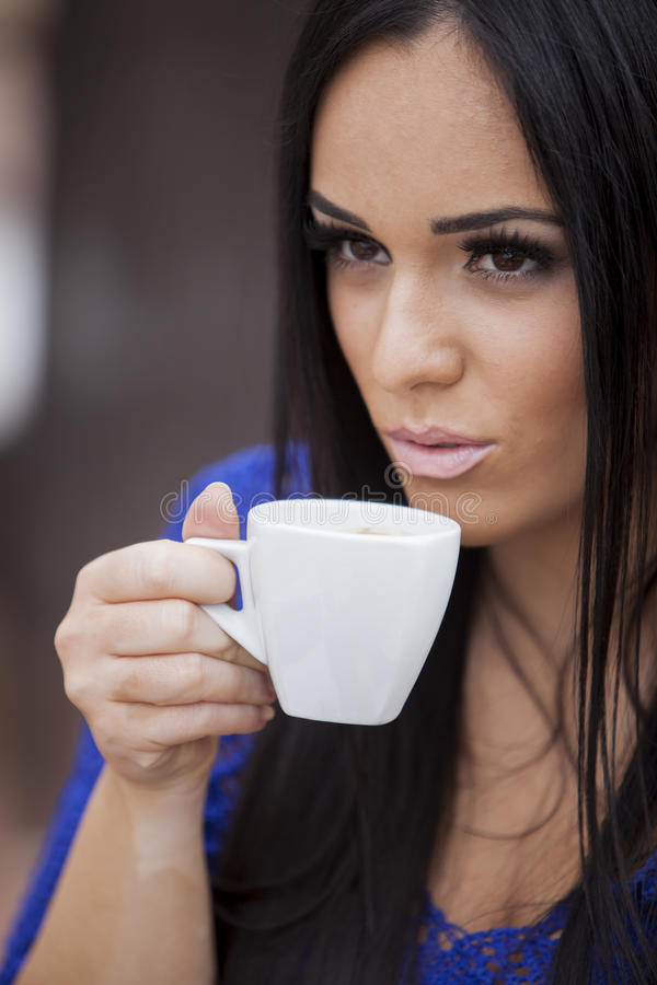 Download Girl drinking coffee stock image. Image of head, pretty - 25804609