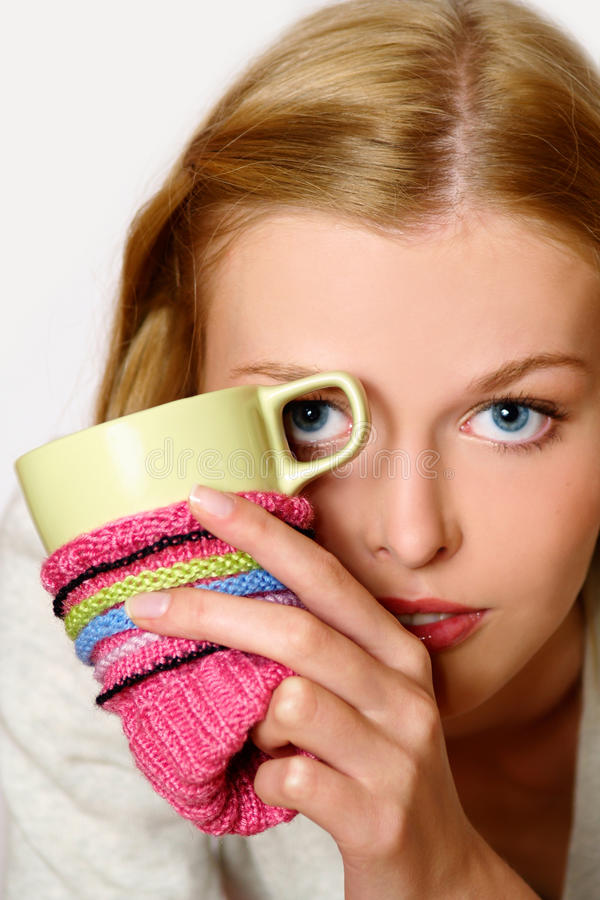 Download Girl Drinking Coffee Or Tea Stock Photo - Image: 11053392