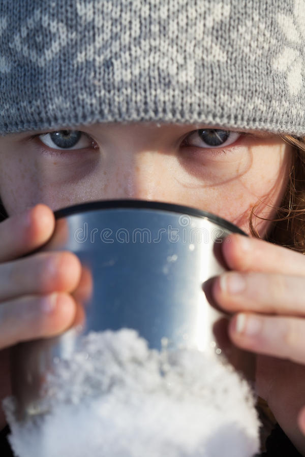 Download Girl Drinking From Flask Cup Stock Image - Image: 27831787