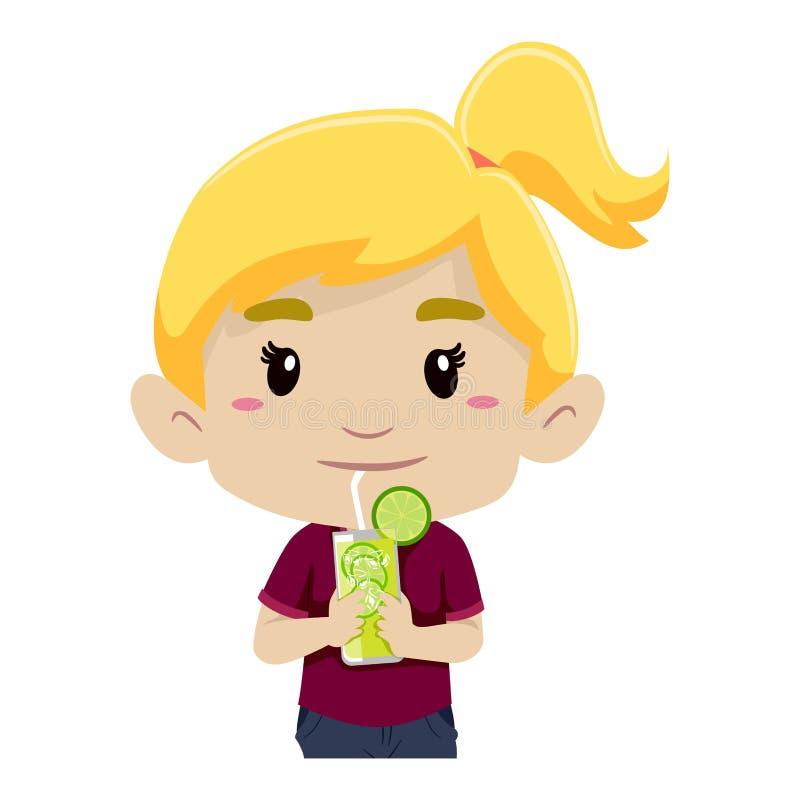 Free Girl Drinking Glass Of Lemonade Stock Photo - 68323190