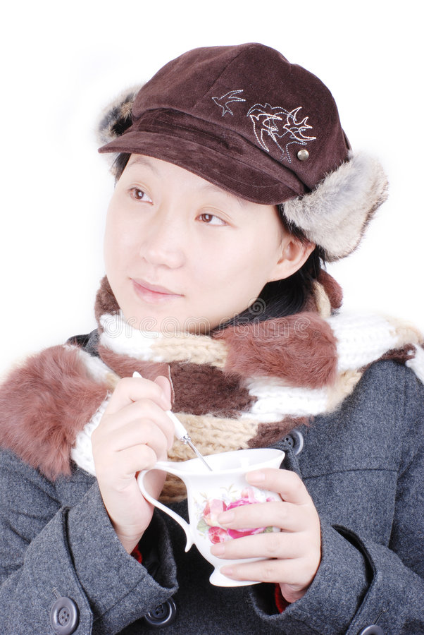 Download Girl drinking hot coffee stock image. Image of scarf, brown - 7253083