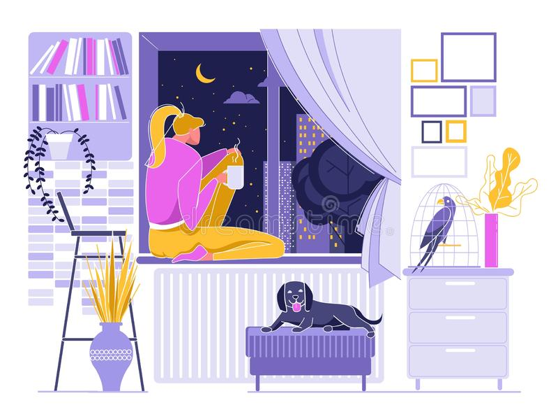Girl Drinking Hot Coffee near Window, Night Sky royalty free illustration