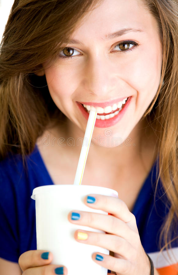 Download Girl drinking soda stock photo. Image of soft, adult - 21022762